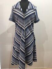 H.Frisch Sydney Vintage Blue White Chevron Print Zip 1960s Dress Size 20 Xxlarge