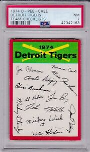 1974 OPC Team Checklists Detroit TIGERS PSA 7 NM TOUGH! o-pee-chee KALINE