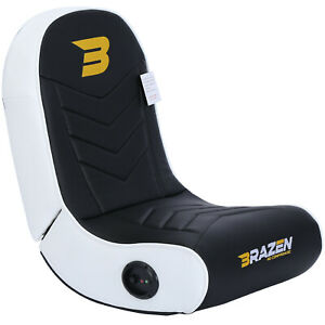 BraZen Floor Rocker Gaming Chair - Speaker - Stingray 2.0 Surround Sound - White