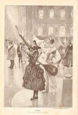 Taxi Cab, Costume Party, Revellers Hail A Cab, Vintage 1892 German Antique Print