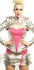 NEW LIP SERVICE TECHNOCRACY VINYL TOP L CORSET BUSTIER SILVER PINK CYBER GOTH