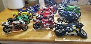 Motorcycle Model Diecast Lot  of 14 Toy Kids 1:12 & 1:18 Scale used loose