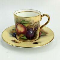 Aynsley Orchard Fruit Demitasse Tea Cup & Saucer Signed Brunt Jones Teacup Set