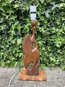 ORIGINAL VINTAGE RETRO MID CENTURY CARVED WOODEN BIRD TABLE LAMP ~ SHABBY CHIC