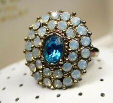 Vintage Glamours Cluster Faux Cornflower Blue Sapphire Moonstone Adjustable Ring
