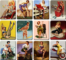 12 souvenir fridge magnets - Vintage Sexy Pin-up Girl - (2.6x 3.2 inch) - set 3