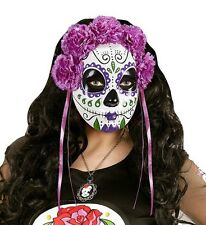 Day of The Dead Purple Rose Halloween Face Mask Mexican Masquerade Ball