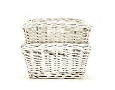 Nested White Square Wicker Baskets (Set of 2) by Handcrafted 4 Home