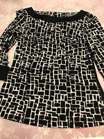 Ann Taylor Women's Top Black White Cuffed 3/4 Sleeve Cotton Blend Blouse Size 2