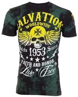 ARCHAIC by AFFLICTION T-Shirt BLACK TIDE Skull Tattoo Motorcycle Biker UFC $40 c