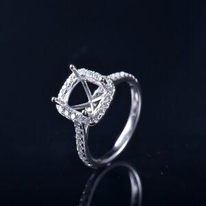 Cushion Cut 7×6mm Natural Diamond Semi Mount Ring Setting Solid 14K White Gold