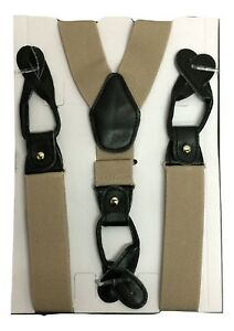 Unisex Suspenders Braces Faux Leather Button ON Strong 3.5 cm Wide UK