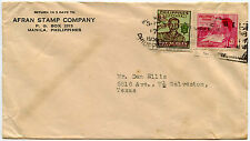 PHILIPPINES STAMP DEALER ENVELOPE 1950 AFRAN CO...SCOUT FRANKING to TEXAS USA