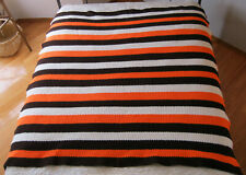 "Vintage Handmade Crocheted Striped Afghan; 64""x64""; Heavy; Orange, Brown & White"