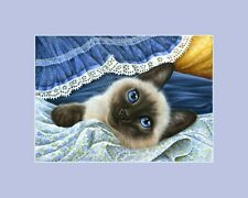 Siamese Cat ACEO Print Blue Fabric by Irina Garmashova