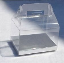"24 PCS 4x3x2-1/2"" Wedding Party Favor Gable Handle Clear PVC Box w/ Silver Card"