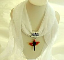 scarf jewelry pendant necklace white fashion accessory women dragonfly charm