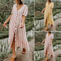 ZANZEA Womens Stripe Button Through Summer Holiday Beach Party Midi Sun Dress