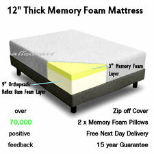 """12"""" inch KING 5ft BED SIZE MEMORY FOAM MATTRESS + 2 FREE PILLOWS & FREE POSTAGE"""