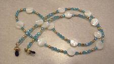 MOP & Teal Blue Glass Bead Eyeglass Holder Chain Necklace Lanyard Gold Plate