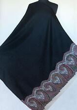 Large, Jamavar, Kani, Wool, Paisley Shawl. Black with Detailed Border. Jamawar