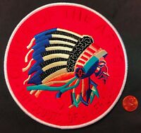 """ORDER OF THE ARROW OA BSA 2018 NOAC OLD STYLE INDIAN JACKET PATCH 6"""" ON RED FELT"""