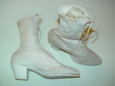 Lady Rosslyn Victorian Edwardian Antique White Canvus Lace Up Granny Ankle Boots