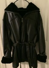 WILSONS LEATHER WOMENS BLACK LEATHER FAUX FUR LINED COAT XXL