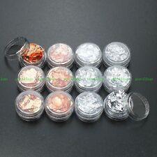 12Pot Glitter Paillette Flake Foil Nail Art Acrylic Decoration Silver +Rose Gold