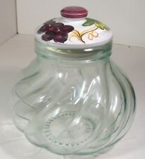 VINTAGE CLEAR GLASS POT BELLY JAR BEAUTIFUL HAND PAINTED LID MADE IN ITALY