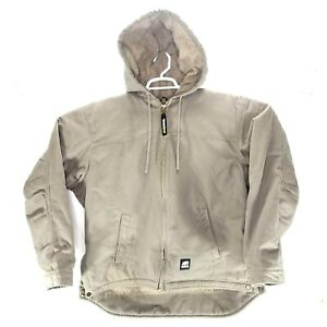 Berne Mens Grey Stone 100% Cotton Hooded Work Coat LARGE chest size 44-46