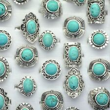 Wholesale 30pcs Mixed Lot Antique Silver Plated Vintage Turquoise Stone Rings