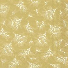 Paper Napkins Mistletoe Allover Gold Disposable Festive Lunch Party Serviettes