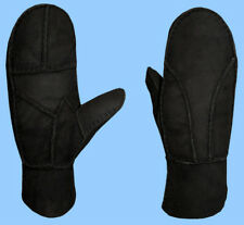 NEW WOMENS size 7-Med BLACK SHEARLING LAMBSKIN SUEDE LEATHER MITTENS-FUR LINED