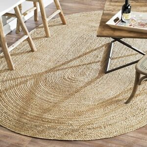 100% Jute Oval 4 Great sizes American Braided style rug. Reversible rustic plain