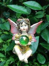Miniature Dollhouse Fairy Garden ~ Sitting Mini Fairy Girl w Gazing Ball on Pick