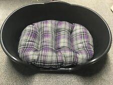 Extra Large XL Plastic Black Dog Pet Bed With Purple Tartan Cushion Basket