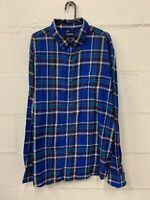 Chaps Men's Soft Brushed Flannel Blue Plaid Check Shirt Long Sleeve Size XL