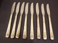 Oneida Milady table Knife set of 8 Knives Community Silverplate Flatware 1940s