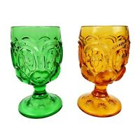 Vintage 2 L.E. Smith Water Goblets Moon and Stars Pattern NICE Green Yellow