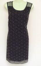 NEXT BLACK EMBELLISHED FRONT MESH SHOULDER DRESS SIZE 14  BNWT