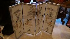 EARLY 20c CHINESE WHITE LACQUER WOOD 4 PANEL HAND PAINTED SCREEN ROOM DIVIDER