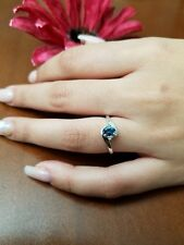 Natural London Blue Topaz Engagement Gold Plated 925 Sterling Silver Ring
