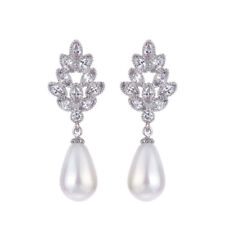 Chandelier Pearl Drop Bridal Earrings  Vintage Real Sterling 925 Silver Earrings
