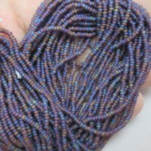 LAST HANK of 12, twenty inch strands of matte Purple Iris Seed beads, 11/0