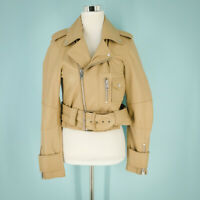 Walter Baker Small Size S Jacket Leather Lamb Annie Moto Crop Beige Camel NWT