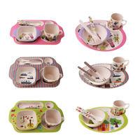 5Pcs/set Bamboo Fiber Baby Plate Bowl Cup Fork Spoon Baby Kids Feeding Tableware