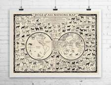 Dogs Breeds of All Nations 1936 Vintage Dog Map Rolled Canvas Print 32x24 in.