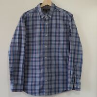 Banana Republic Mens Large Blue Gray L/S Slim Fit Luxe Flannel Button Up Shirt