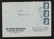 Germany WWII Hitler Head Deutsche Arbeitsfront Bergheim Postally Used Cover ZB